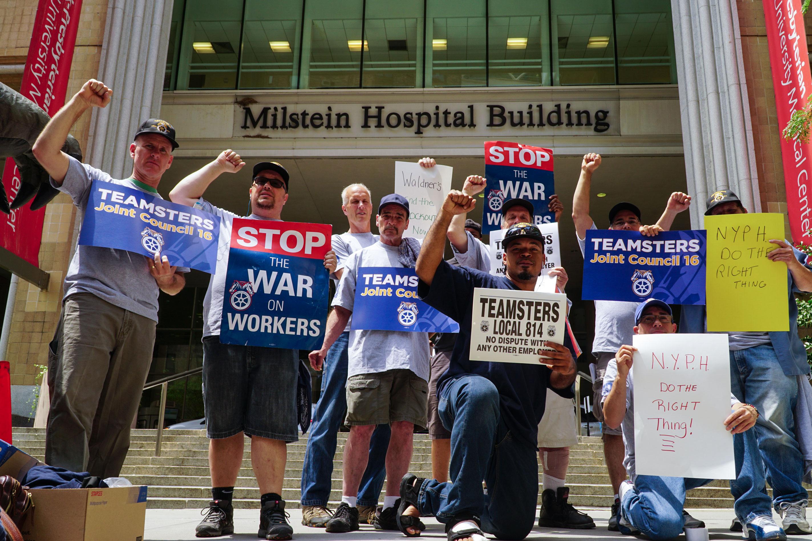 Teamsters protest New York Presbyterian Hospital