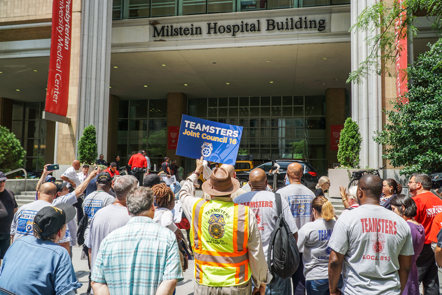 Teamsters and nurses rally against Waldner's outside New York Presbyterian Hospital