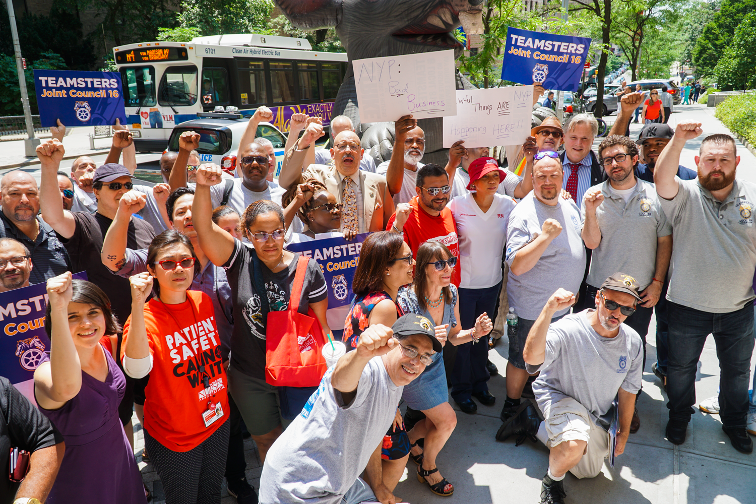 Nurses rally with Waldners workers at New York Presbyterian