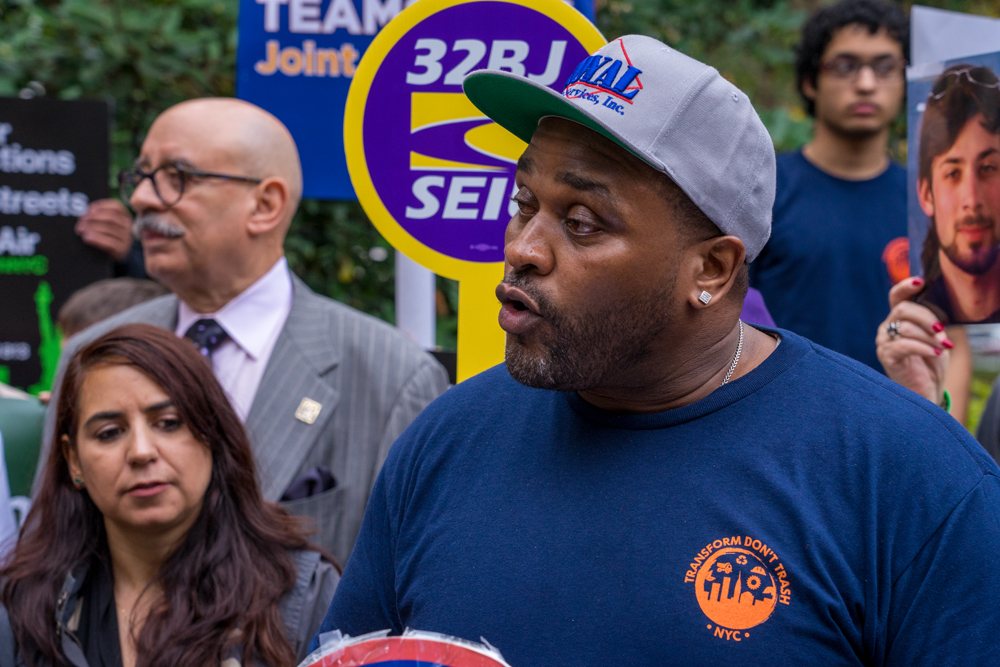 Teamster member speaks at City Hall rally for Commercial Waste Zones